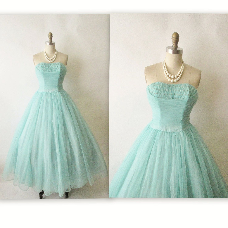 50\'s Prom Dress // Vintage 1950\'s Strapless Robins Egg Blue ...