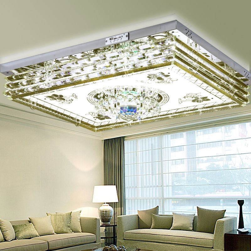 New Crystal Lights Living Room Rectangular Hall Led Ceiling Light Mp3 Bluetooth Bedroom Colorful Music Lamps