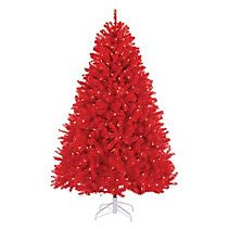 NOMA Red Pre-Lit Christmas Tree, 6.5-ft | Christmas Trees and ...