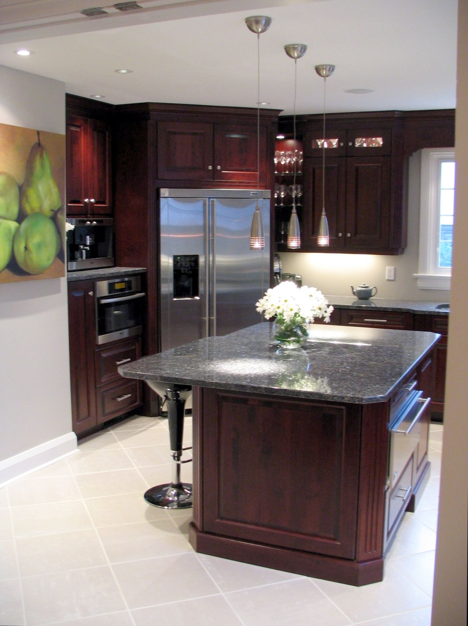Recessed Panel Rosewood Cherry Cabinets, Blue Pearl GT Granite ...