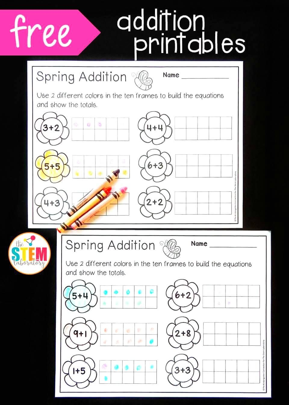 Free Spring Ten Frame Addition Sheets Great Visual For Teaching Kids How To Add Fun Kindergarten Math Center
