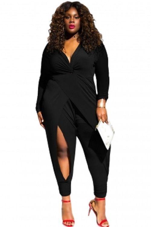 516486b6024 Black Twist Knot Slit Long Sleeve Plus Size Jumpsuit 1-3X  Unbranded   Jumpsuit