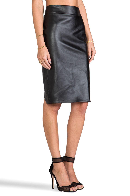 Boulee Monica Vegan Leather Skirt in Black