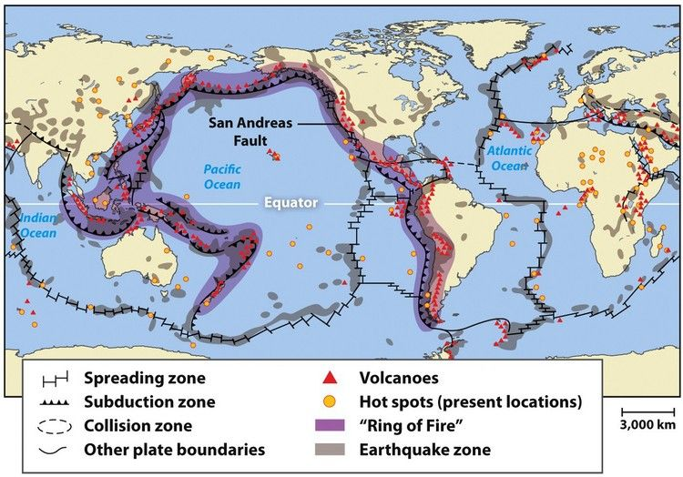 Locations of earthquakes and volcanoes - A  - copy world map with ocean trenches
