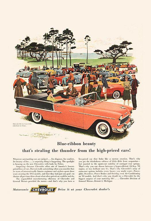 VINTAGE CHEVROLET CAR Ad Retro Ad Mid Century Car Ad Vintage Style Poster