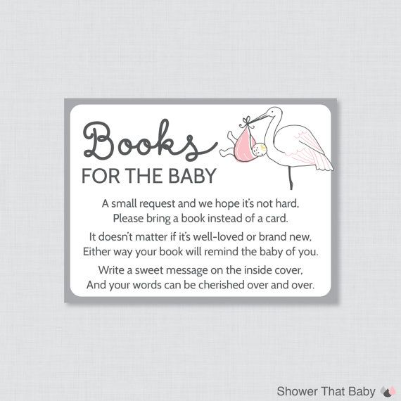 Stork Baby Shower Bring A Book Instead Of A Card Invitation Inserts    Instant Download   Pink And Gray Baby Shower Book Cards   0003