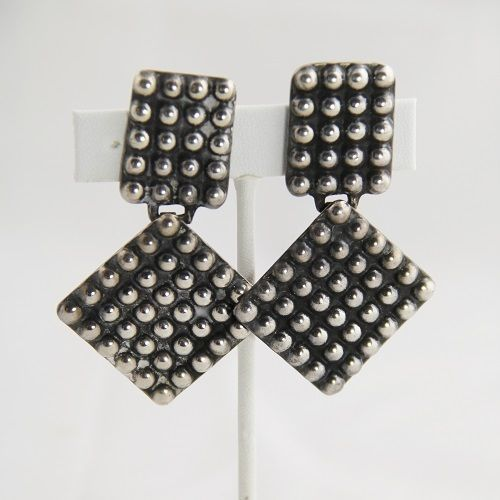 VINTAGE Jewelry SIGNED MEXICAN STERLING SILVER MODERNIST EARRINGS 40s 50s $170ish