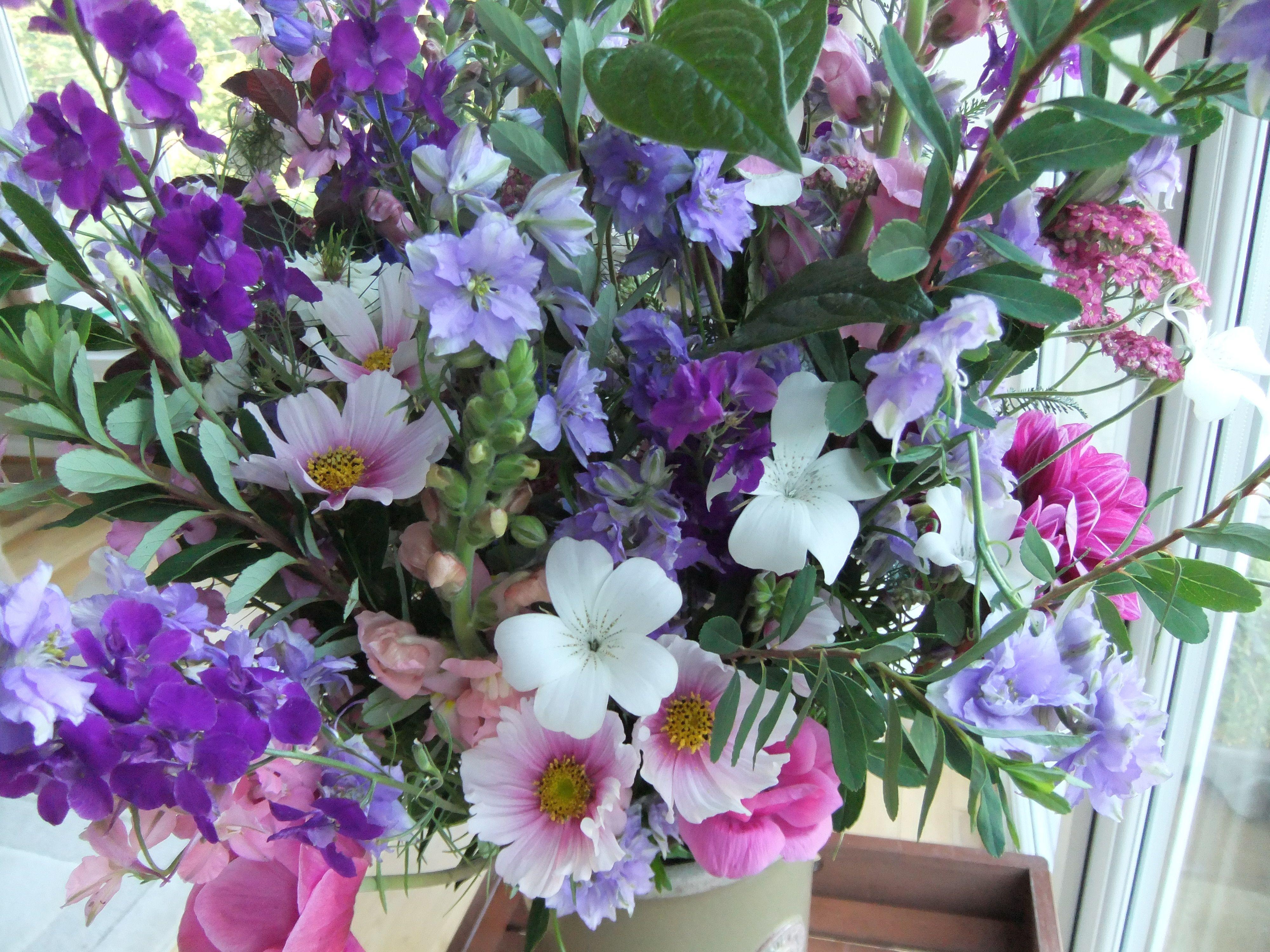 July Cottage Garden Bouquet Of Cosmos Larkspur Corncockle Antirrhinum And Anenome Country Garden Flowers Wedding Flowers Summer Bouquet