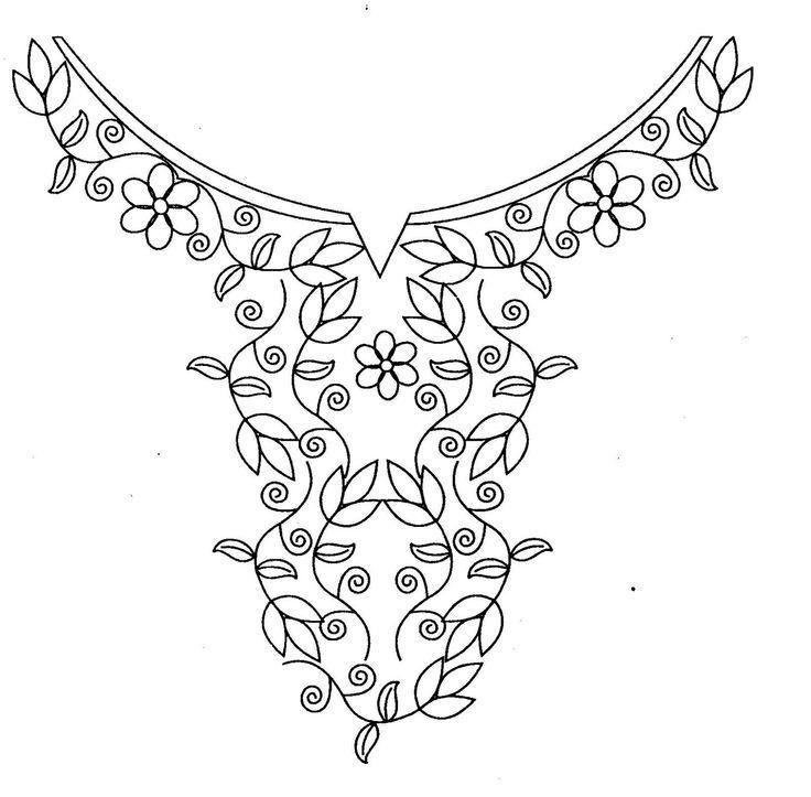 Hand embroidery designs for kurtis neck | Vinilos | Pinterest ...