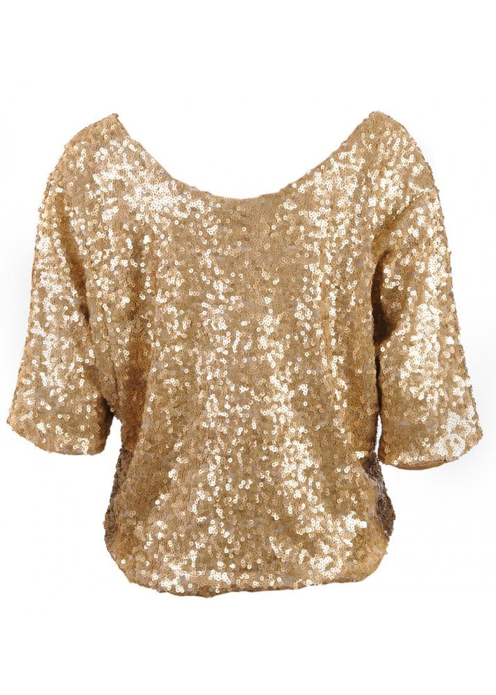6108363f ladies holiday sequin tops | Home › Tops › Crop › VILA Prudence Gold Sequin  Top