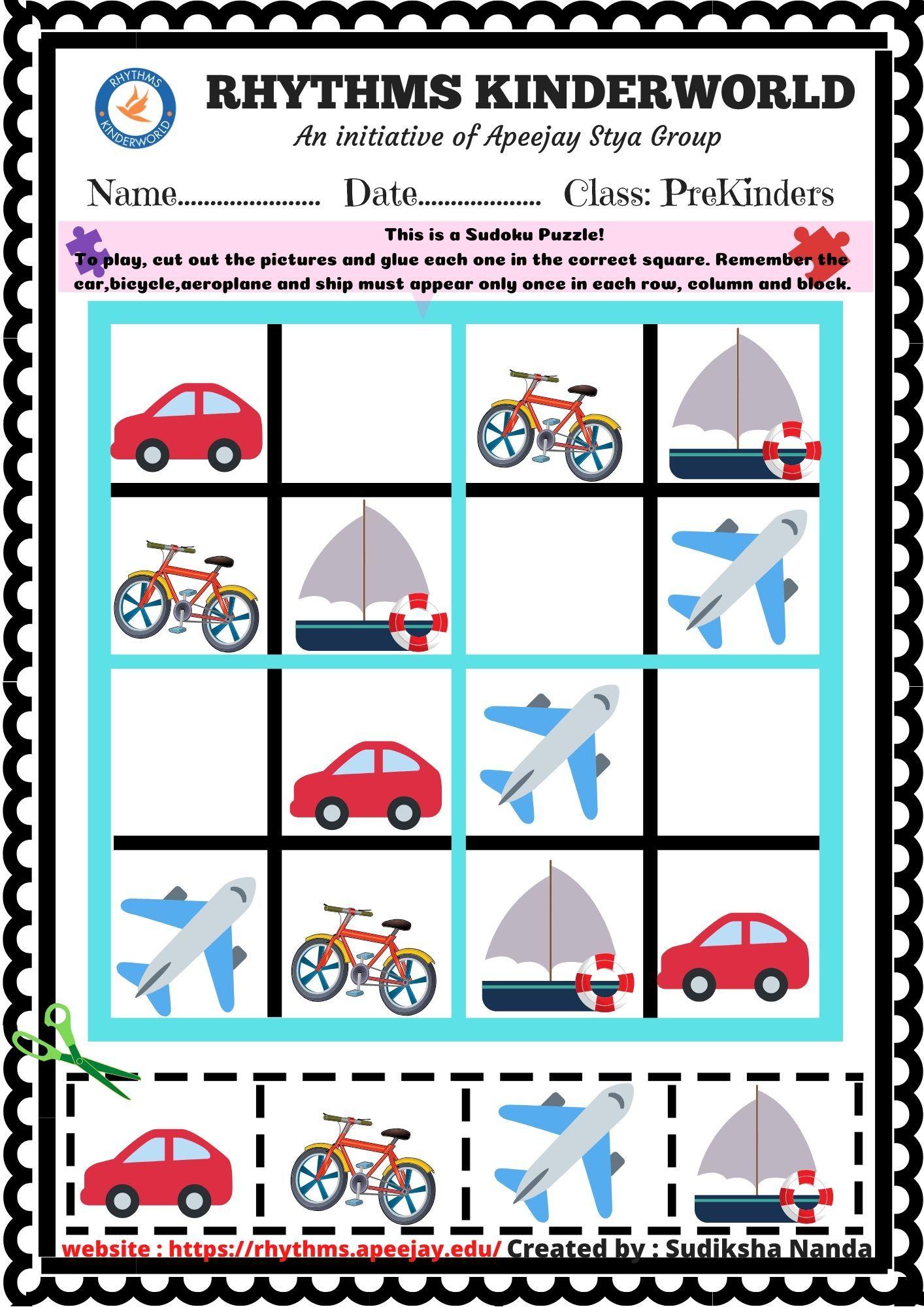 Worksheet On Transport Sudoku Puzzle In