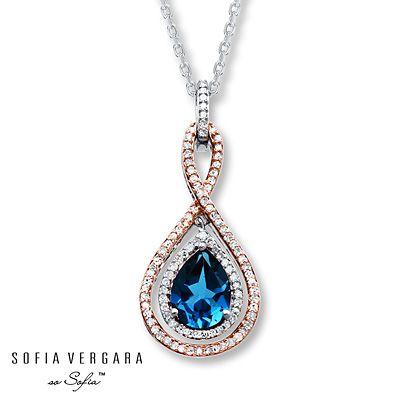 270de840e Blue Topaz Necklace 1/4 ct tw Diamonds 10K Gold/Sterling Silver ...