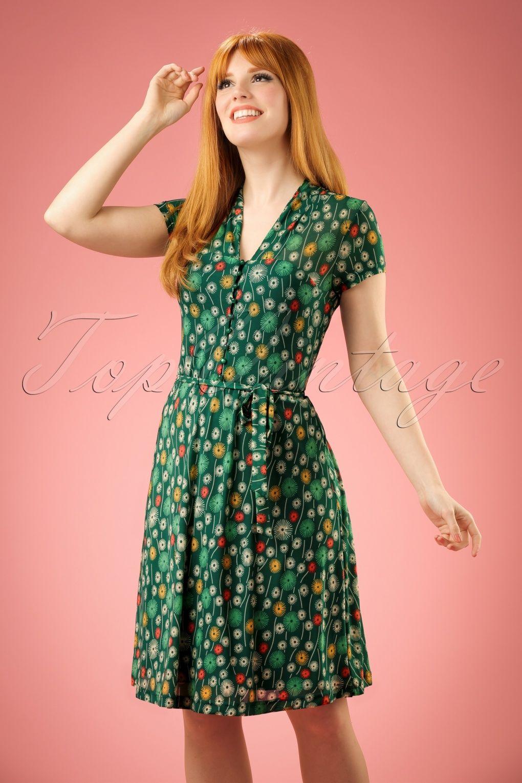 60s Emmy Carmel Dress in Everglade Green