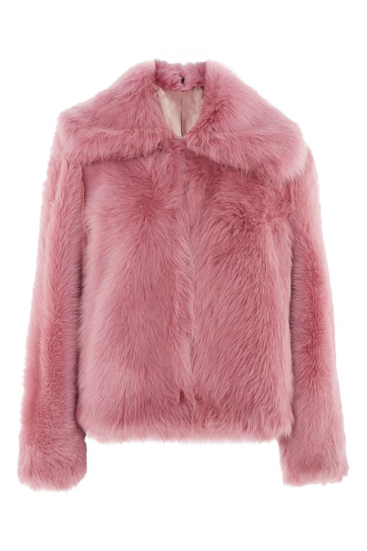 ff20d05ca1d92 Abrigo crop de pelo sintético rosado