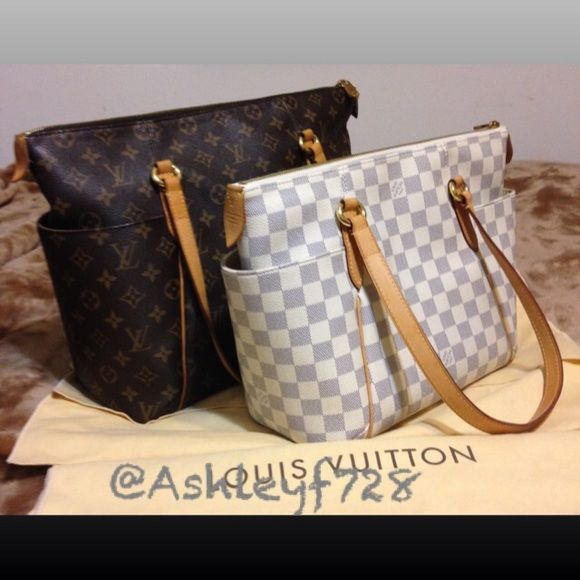 The two newest editions to my collection❣ Monogram Totally mm   damier azur  Totally pm. I Love... NFS!!! Just sharing☺ Louis Vuitton Bags Shoulder Bags f89857a569