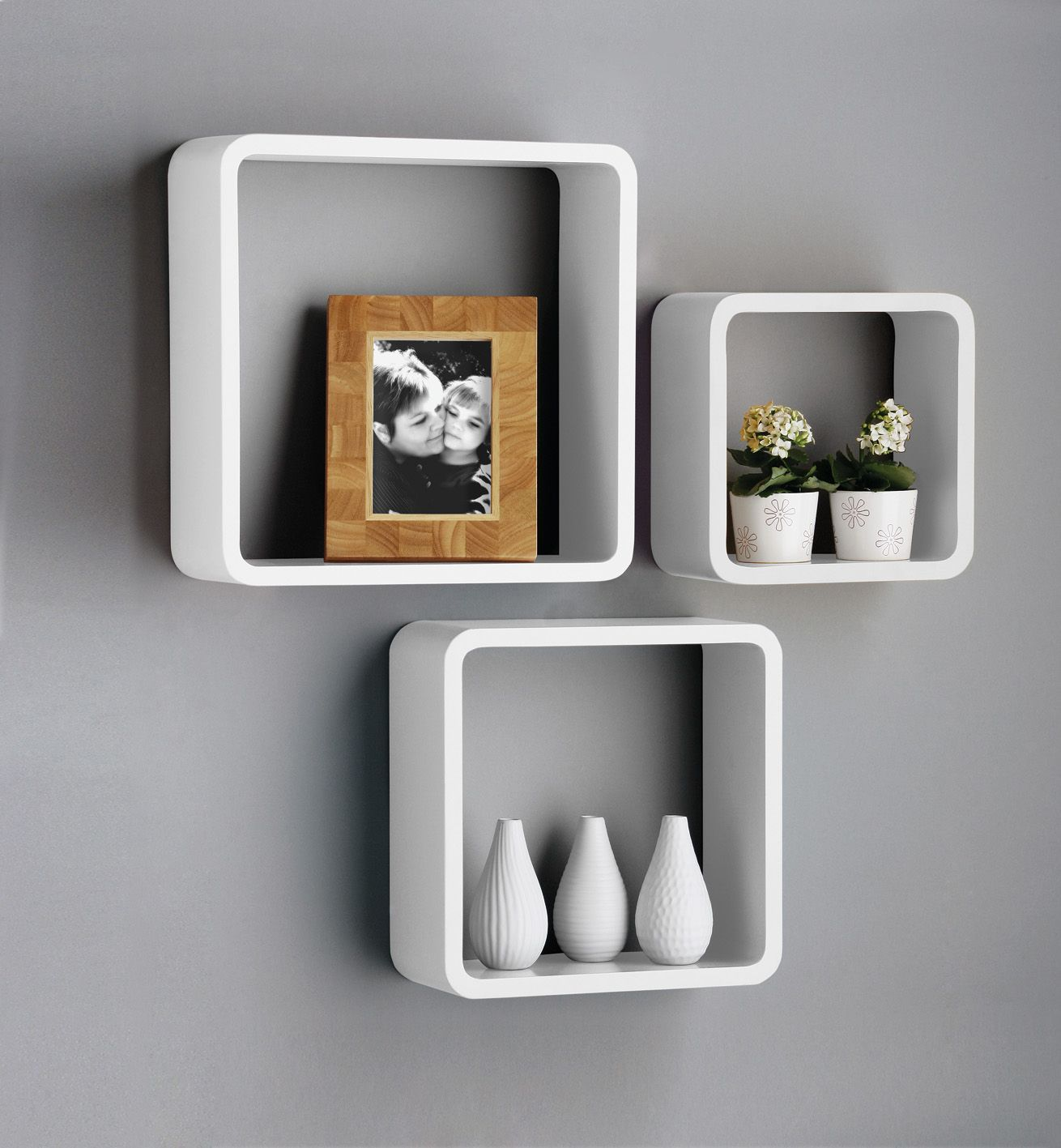 New Set Of 3 White U0026 Black Square Floating Cube Wall Storage Shelves Shelf  Cubes