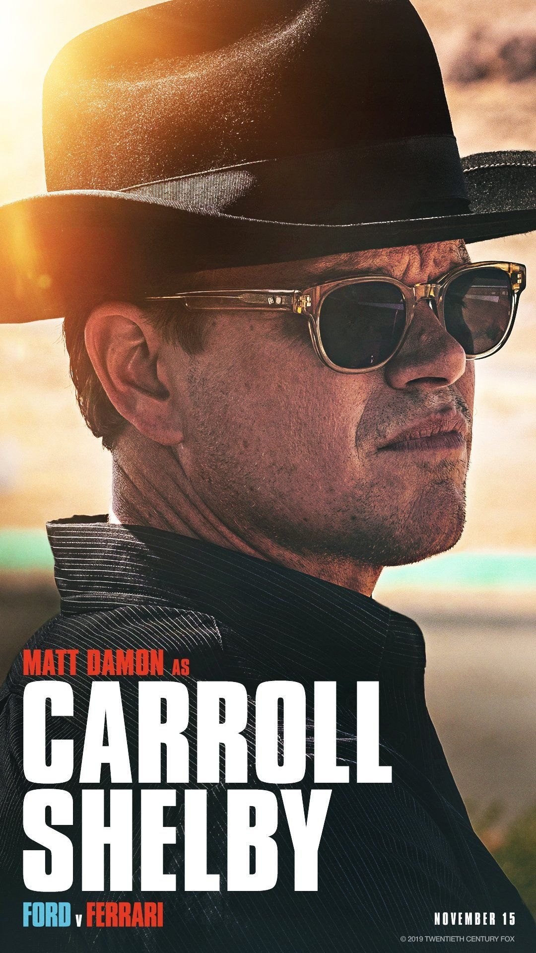 Matt Damon As Carroll Shelby Wearing Sunglasses In Ford V Ferrari