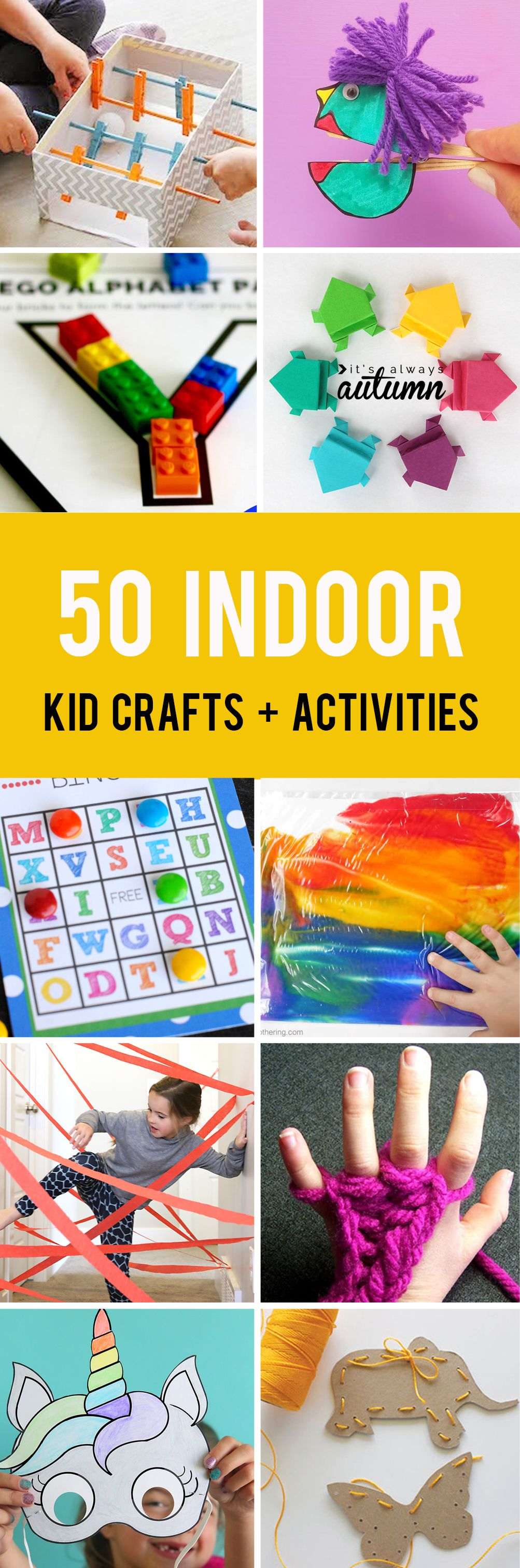 50 easy crafts and activities kids can do indoors! Perfect for cold or rainy days. #itsalwaysautumn #kidactivities #kidcrafts #funforkids