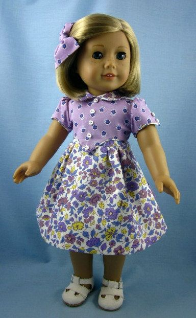 1930s Frock for American Girl Dolls - Kit or Ruthie - Lavender and Periwinkle Floral Print