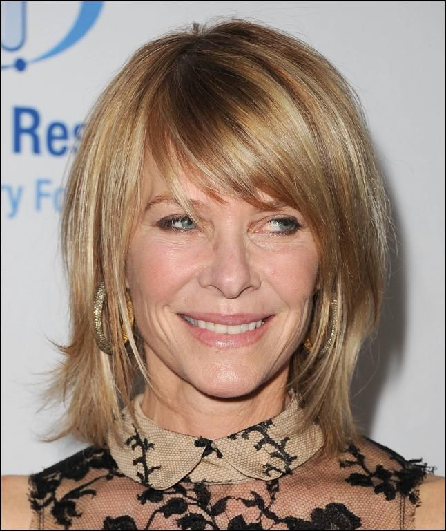 side swept bangs are youthful and natural for older women cute
