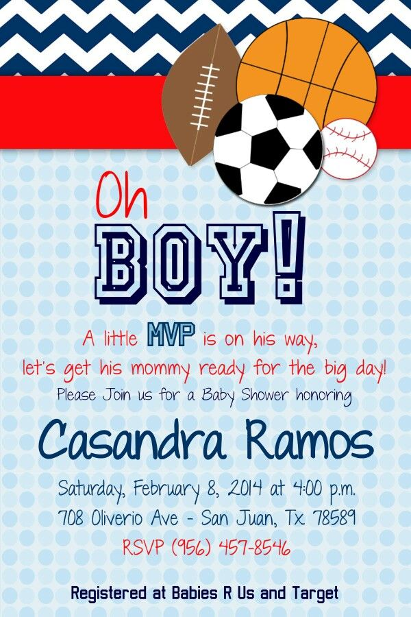 Baby Shower Invitations for a Sports Themed baby shower. Sports ...