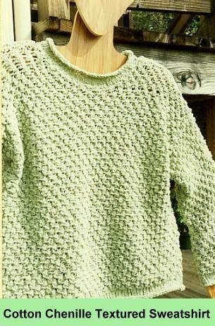 Cotton Chenille knit sweatshirt - free   Knitting for Women ...