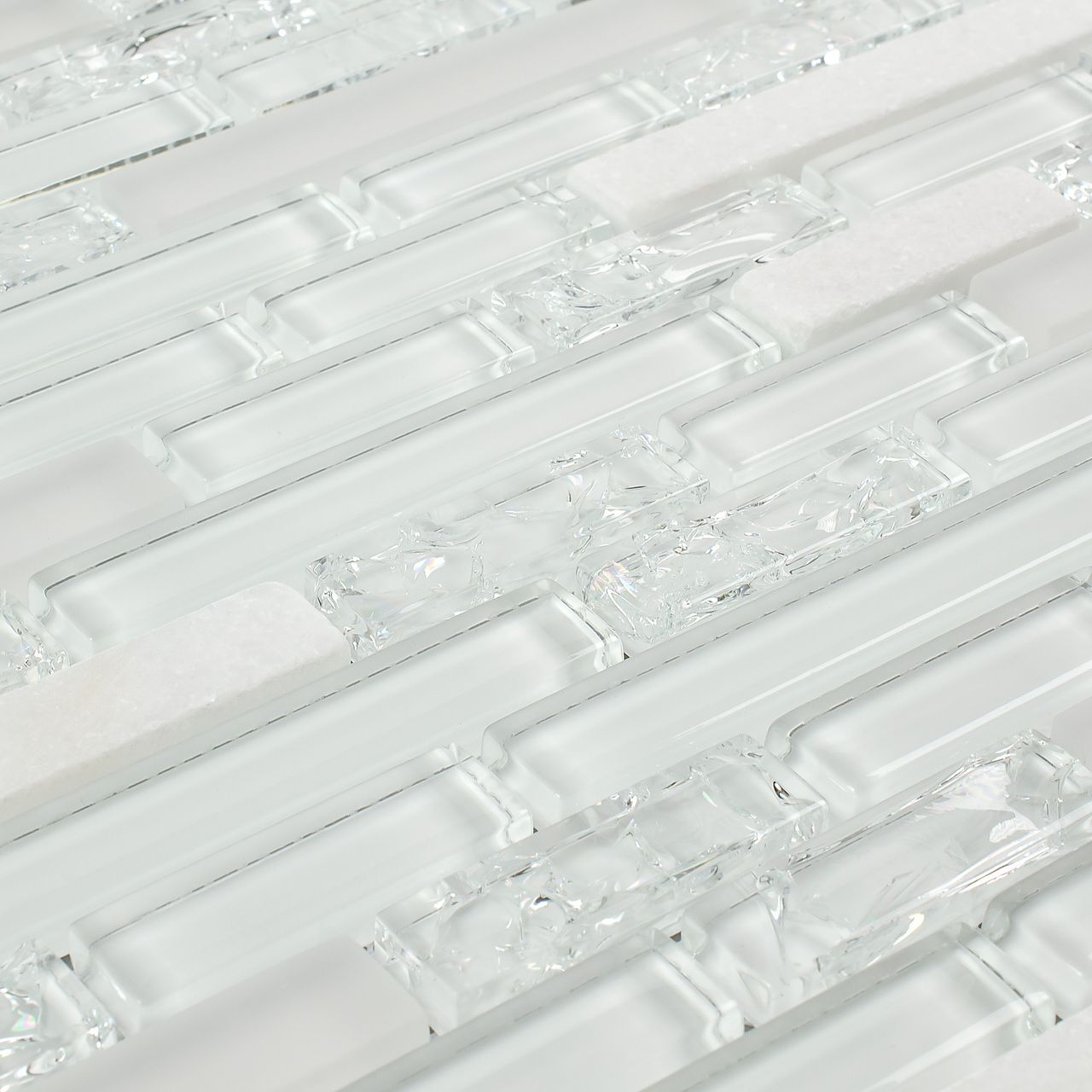 Linear Crackled Glass Tile Snow White