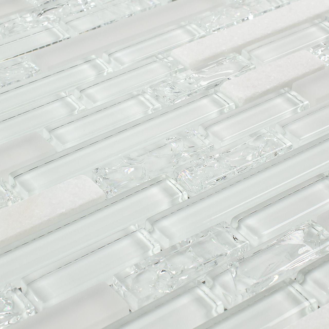 - Linear Crackled Glass Tile Snow White Glasfliesen, Küchenfliesen