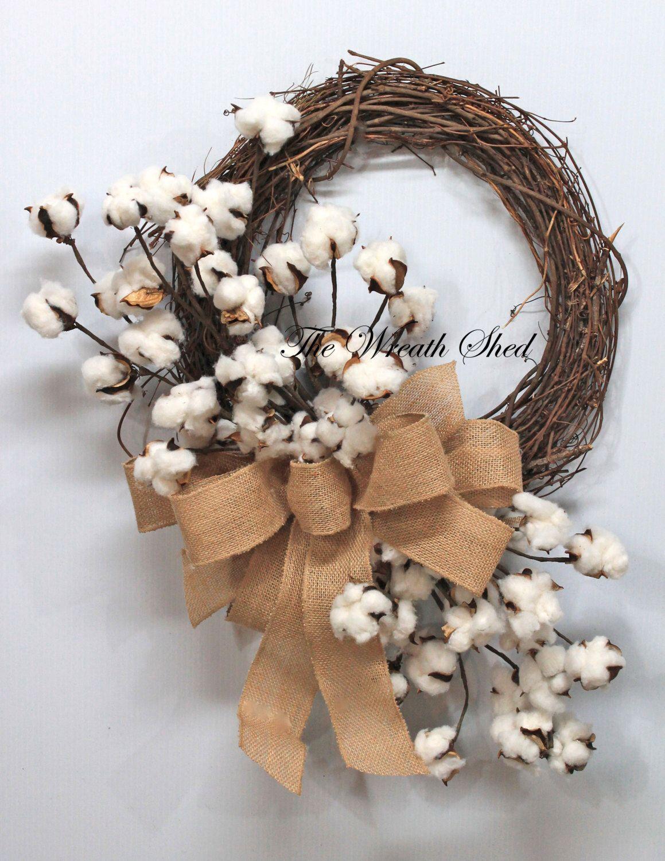 Primitive Cotton Wreath, Cotton Boll Wreath, Natural ...