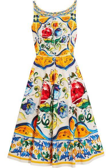 78998681a2f3 DOLCE   GABBANA Printed Stretch-Cotton Cloqué Dress.  dolcegabbana  cloth   dresses. Cerca questo Pin e molto altro su costumi di ...