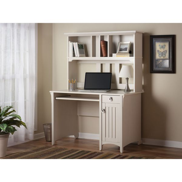 Salinas Mission Antique White Finish Hutch Desk - Overstock™ Shopping -  Great Deals on Bush - Salinas Mission Style Desk With Hutch By Bush Furniture Desks