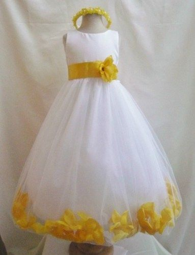 100172fc82 Flower Girl Dress WHITE Yellow PETAL Wedding Children Easter Bridesmaid  Communion Yellow Turquoise White Silver Red Cherry Purple
