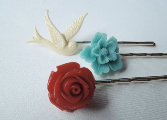 Contemporary Hair Pin Pack Red Rose Turquoise by TheSilverDog, $12.00