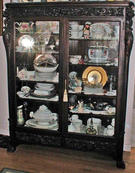R.J. Horner Victorian Carved Mahogany 2 Door Griffin Bookcase ...