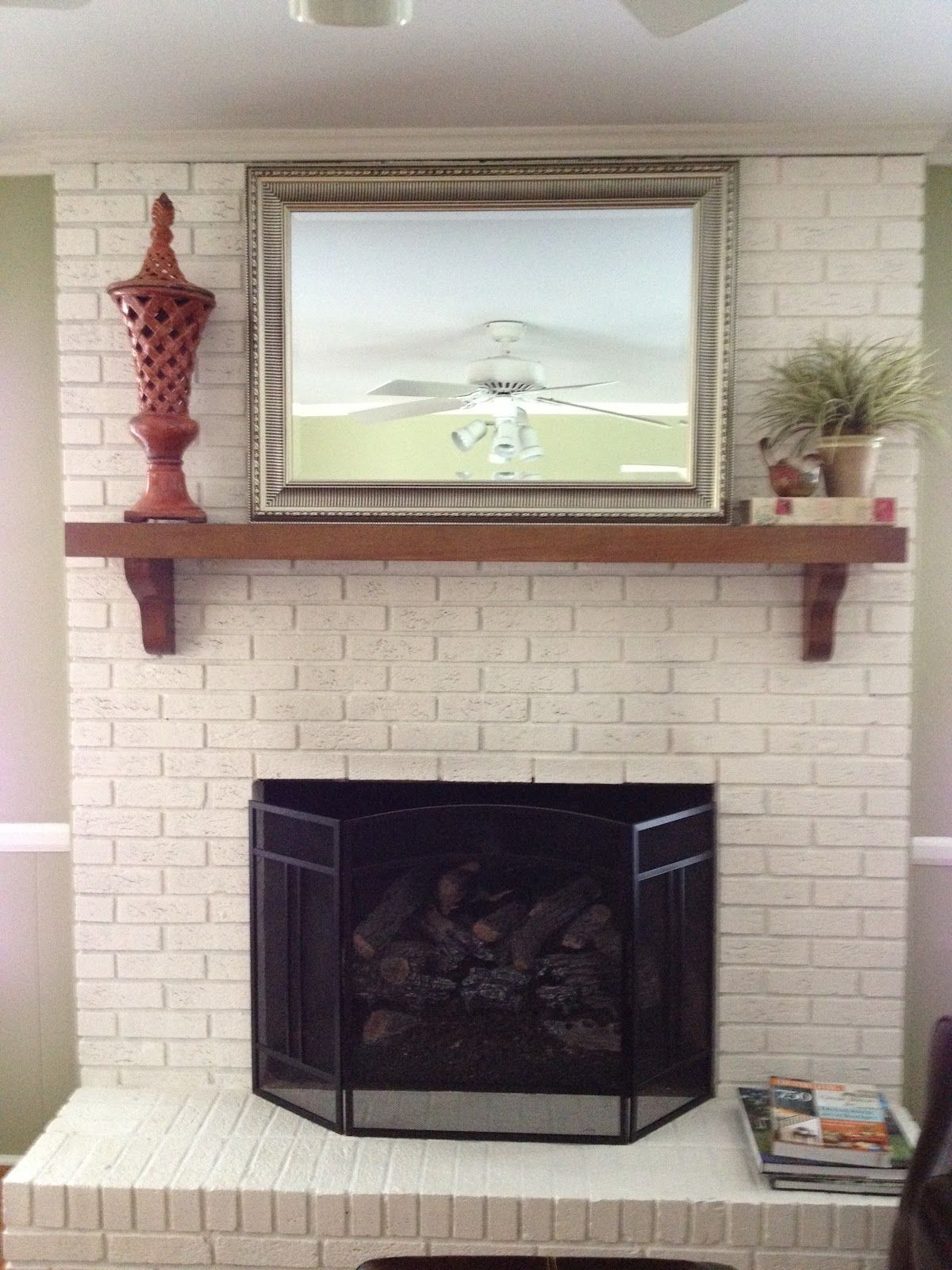 White Fireplace Mantle With A Classic Tile Description From Pinterest Com I Searched White Brick Fireplace Painted Brick Fireplaces Brick Fireplace Makeover