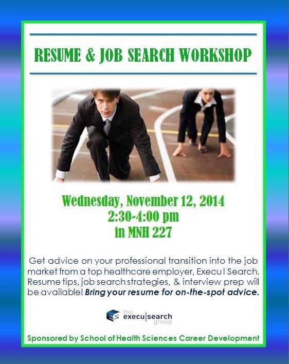 Come to the Resume \ Job Search Workshop with Execu l Search to - resume workshop