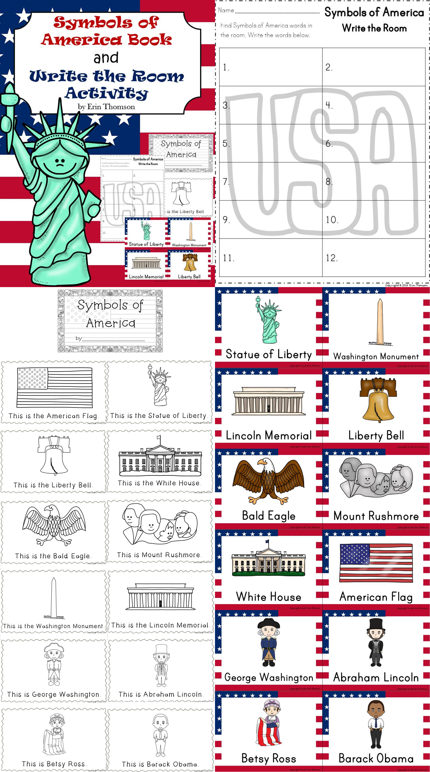 Symbols Of America Book And Write The Room Activity