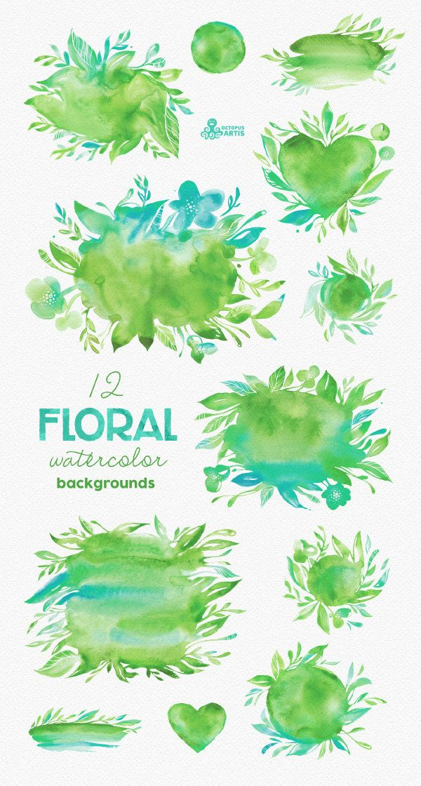 Floral Watercolor backgrounds & shapes: Green by OctopusArtis