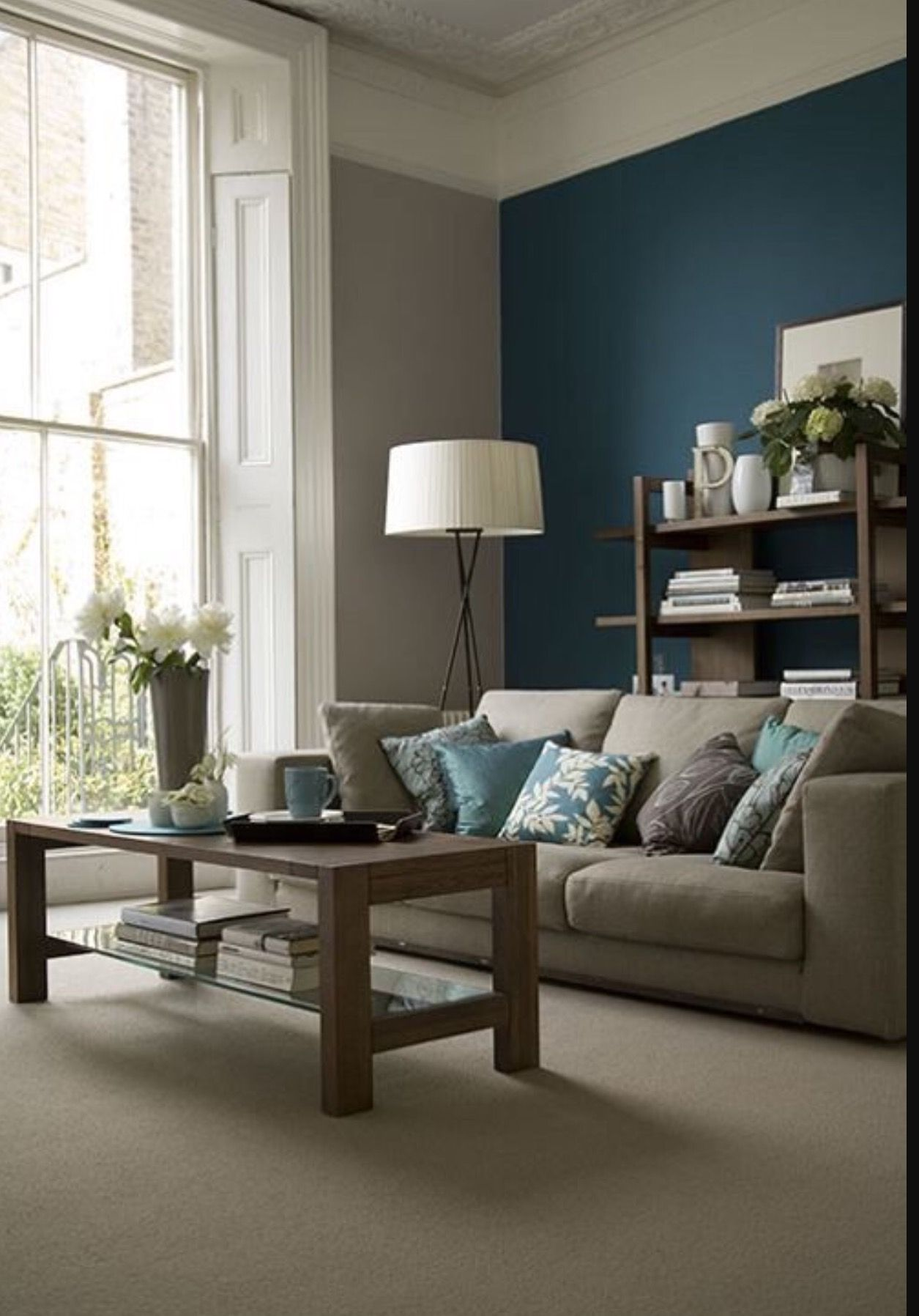 Like the deep teal accent wall Living Rooms Pinterest