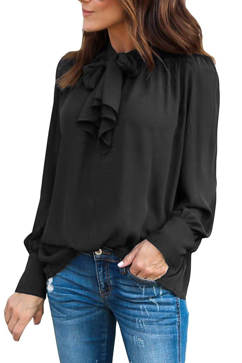 428242eb22 Black Demure Tie Neck Blouse for Women $23.59 #HotSale #Black #chic #women