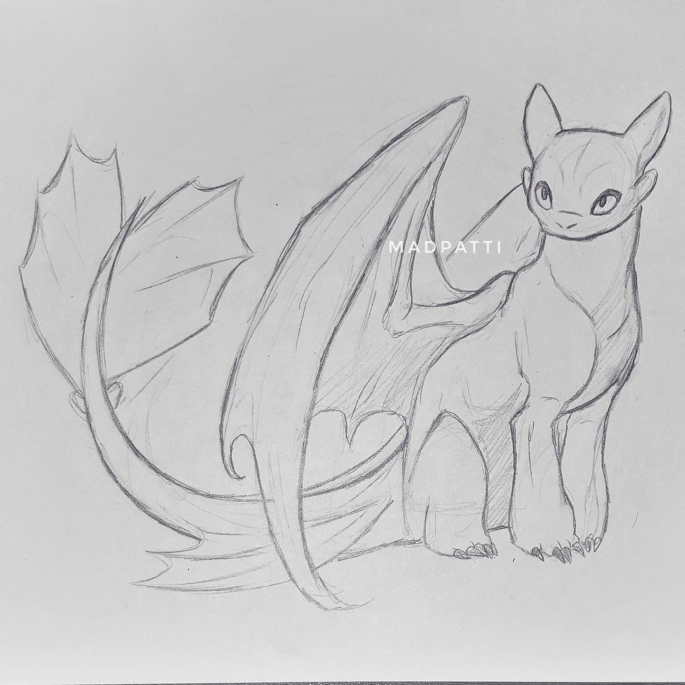 Sketch drawing of the Light Fury the White Night Fury ...