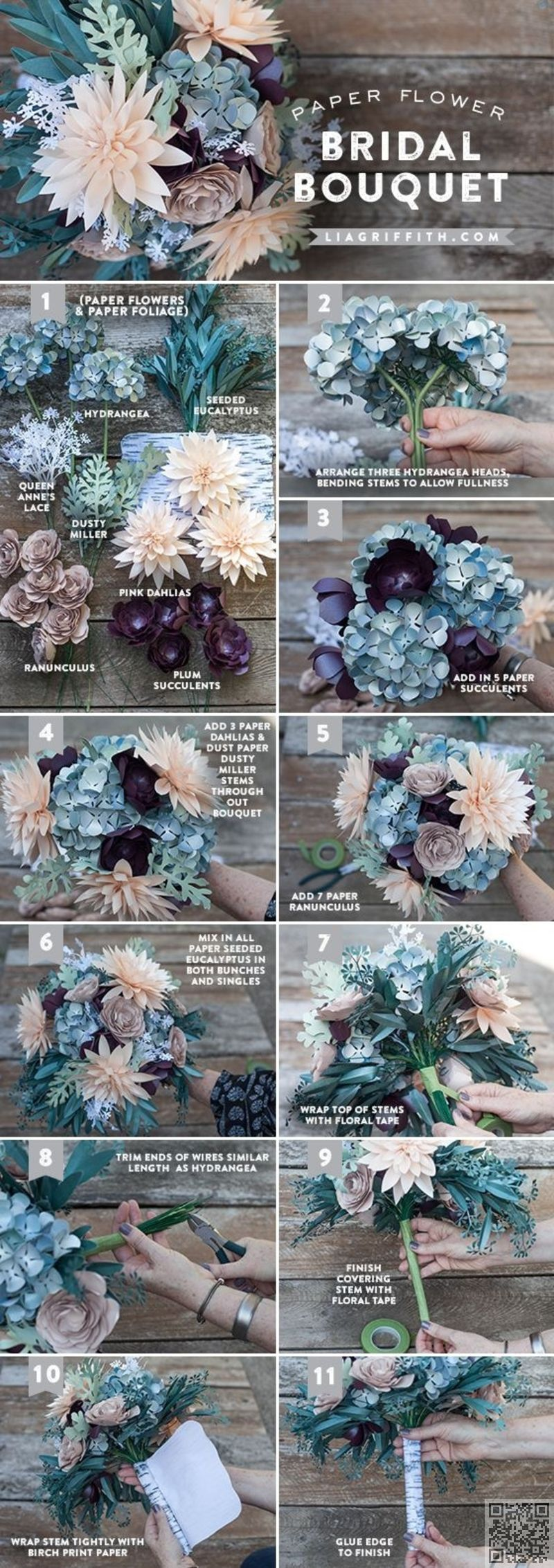 3. #Rustic Paper #Flower Bridal Bouquet - So Many #Pretties! Let\'s ...