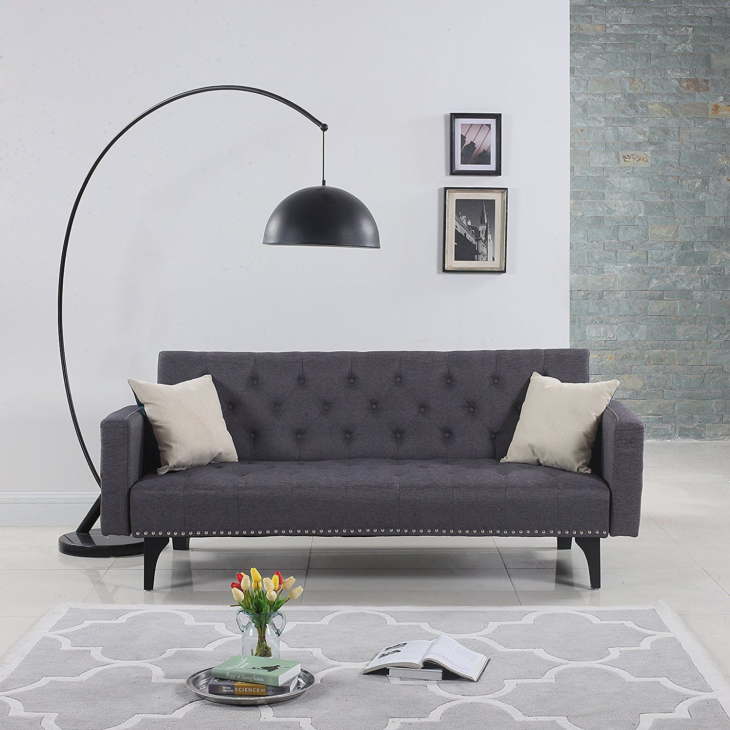 Best Futon Sofa 1) Modern Tufted Fabric