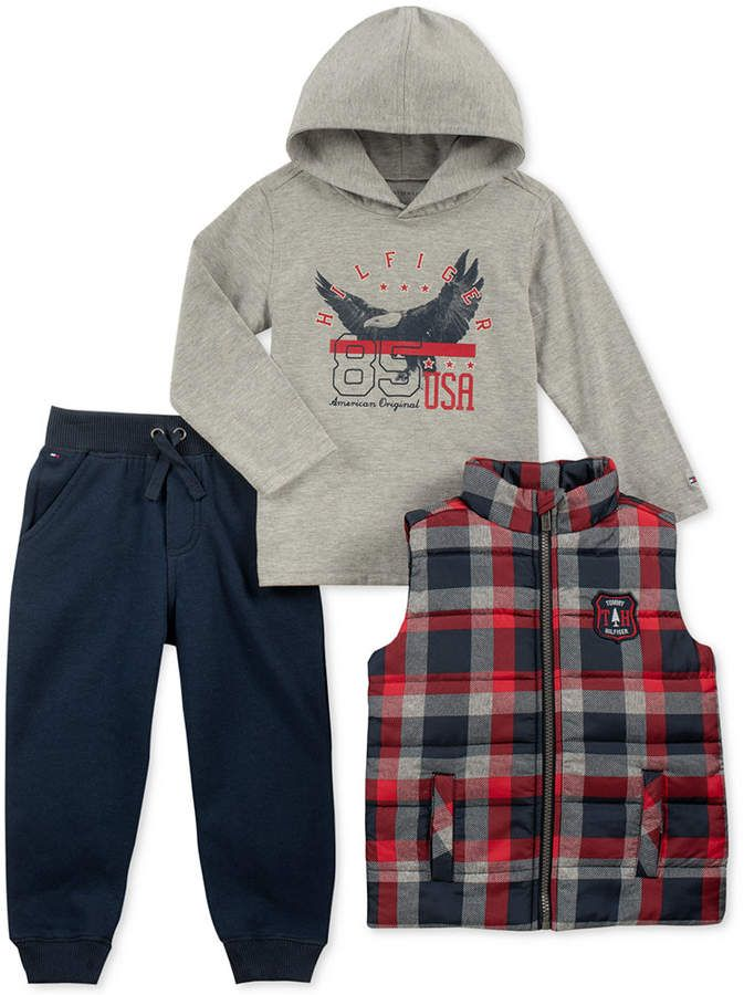 c6e79b43 Tommy Hilfiger Baby Boys 3-Pc. Vest, Hooded Top & Jogger Pants Set ...