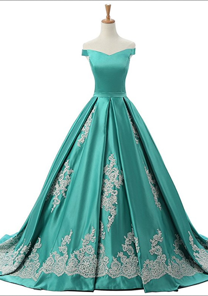 Vintage Turquoise Green Satin Appliques Prom Dresses 2222cbcb8