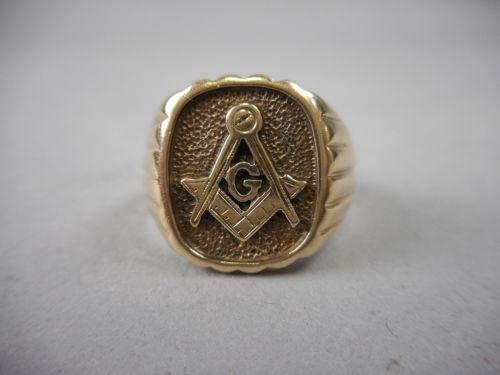 Vintage Heavy 10k Yellow Gold Masonic Ring Size 9 Signed Ksk 5 2 Dwt Maconaria