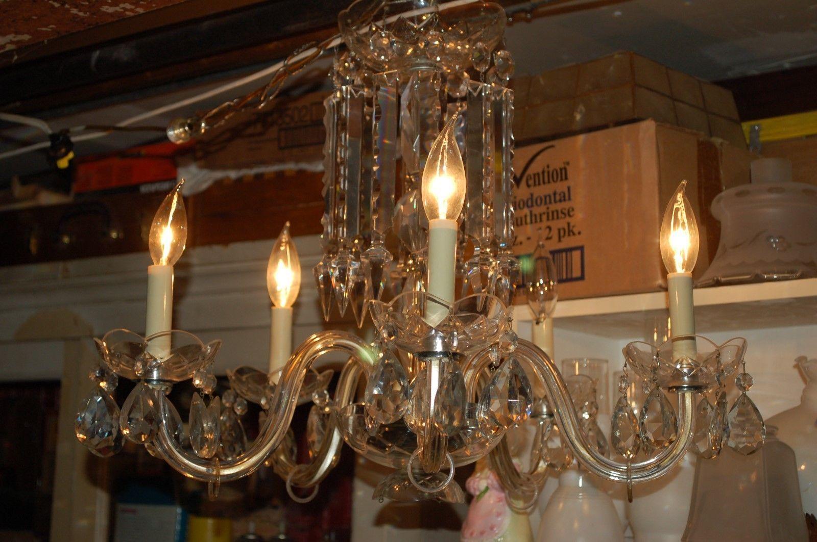 Vintage Cut Glass Prism Crystal 5 Arm Candelabra Hanging Chandelier Ceiling Lamp | eBay