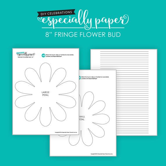 Fringe Flower Bud DIY Templates for Hand Cutting, Silhouette or ...