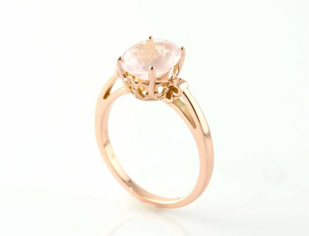 14K Rose Gold Ring Rose Quartz Custom Gemstone Ring 14K White Yellow