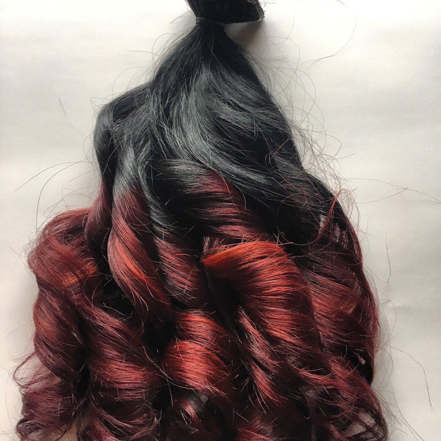 Ombre Hair Extensions Black To Dark Red Mahogany Burgundy Clip In